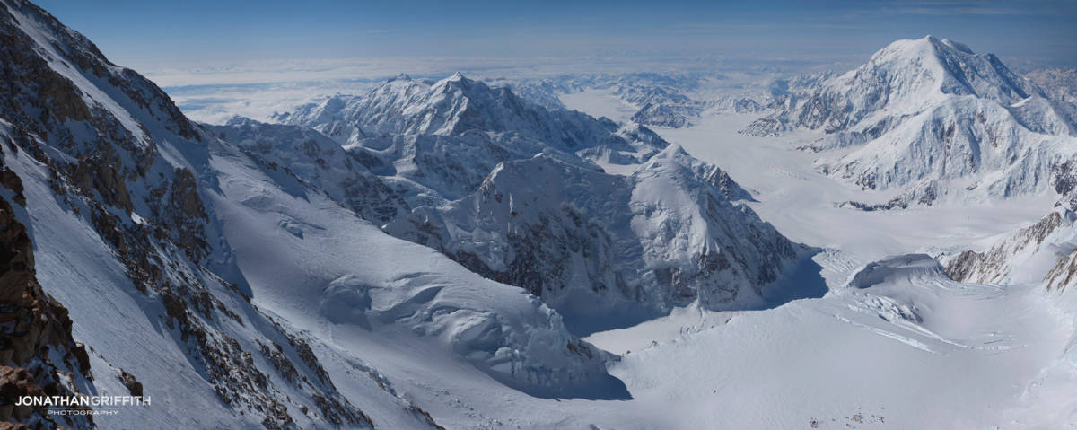 View from 17 camp, 14 camp just visible below. Hunter LHS, Foraker RHS. (32 shot stitch!)