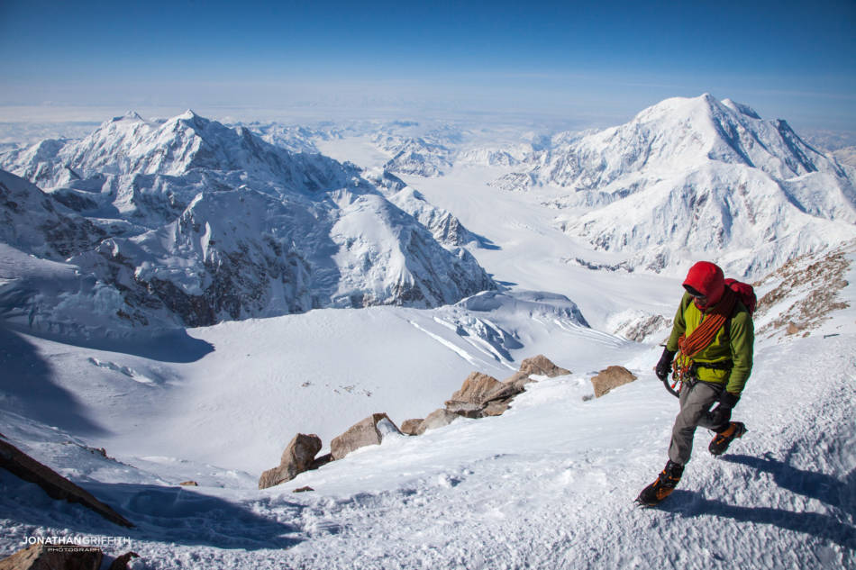 On the scenic ridge above 14 camp (which is below on the flat glacier). Hunter on LHS, Foraker on RHS