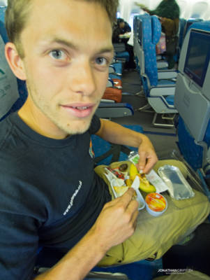 Will has his first taste of Pakistani food on the plane