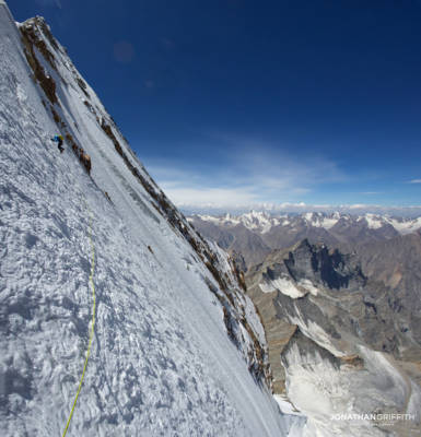 Stitched photo of Andy leading up the top of Drifika