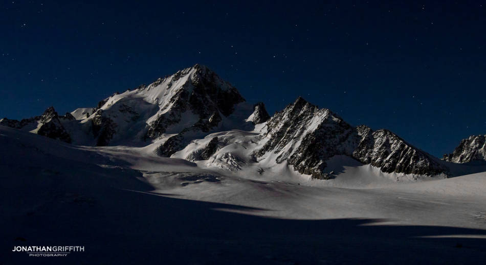 The Aiguille du Chardonnet under the full moon