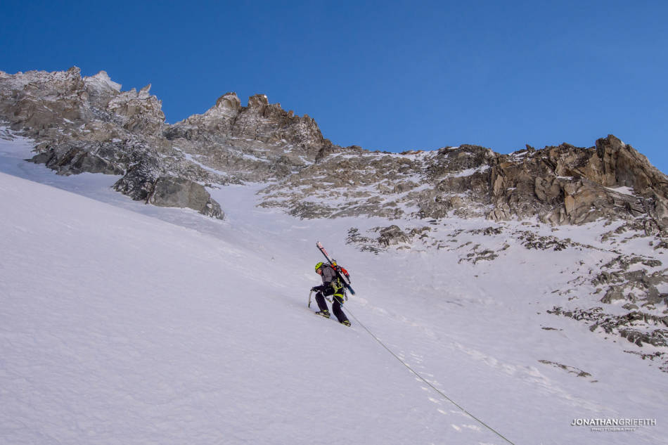David heading up the Argentiere