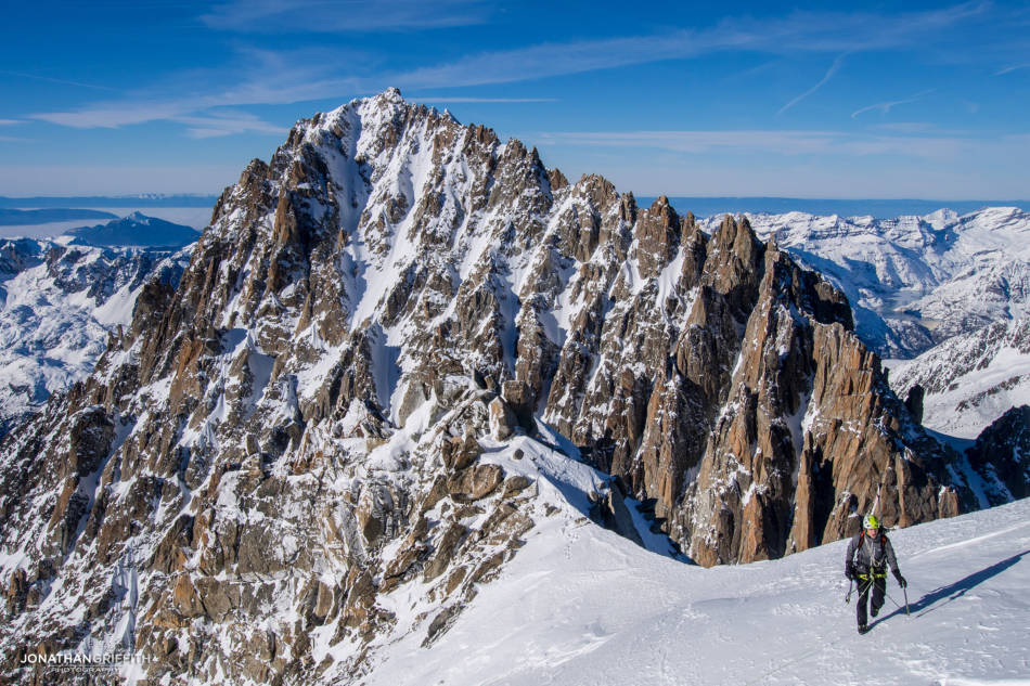 Nearing the summit with the Chardonnet in the background