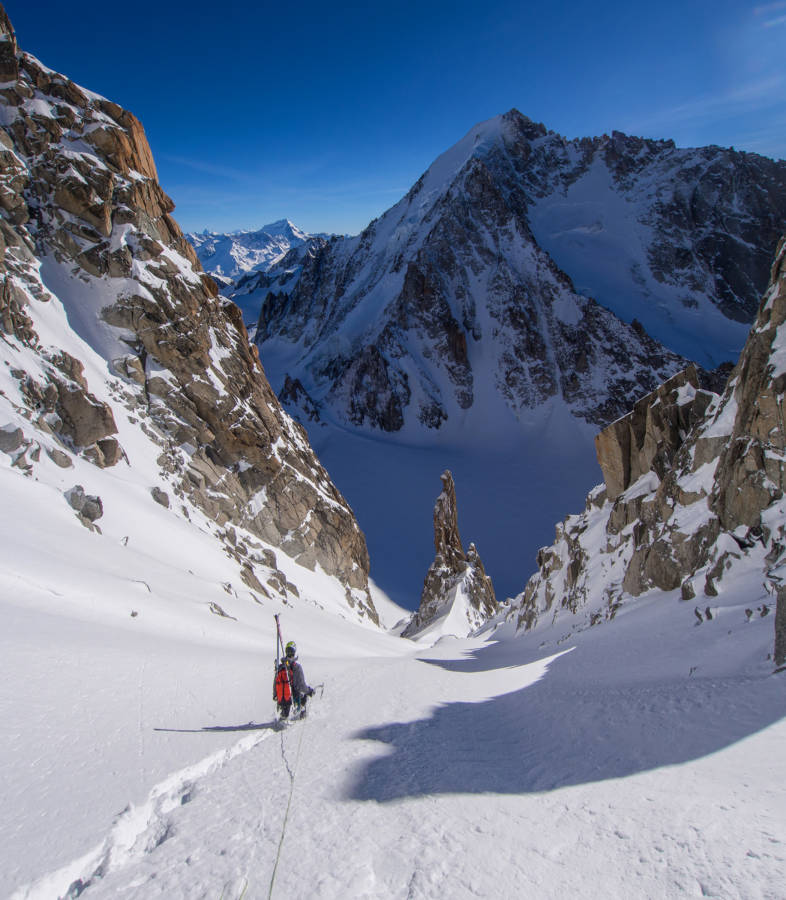 David descends to the Col d'Argentiere, the Aiguille d'Argentiere ahead of us