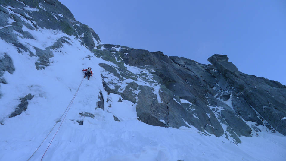 Myself on the first pitch of the route, © Ally Swinton
