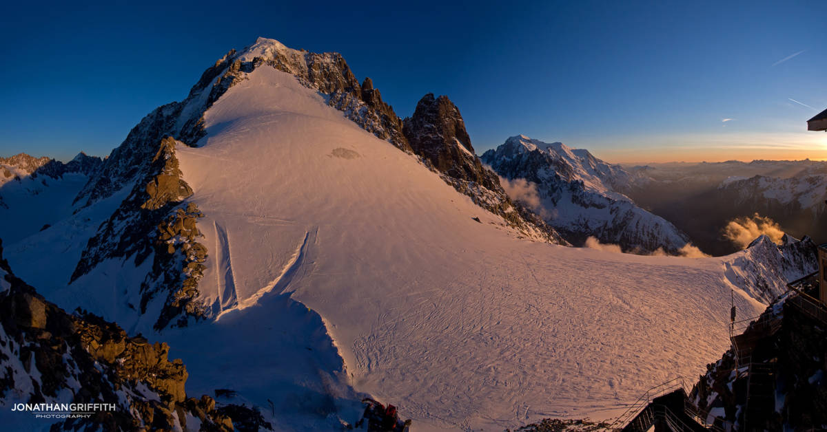 Sunset Panorama over the Aiguille Verte, Drus, and Mont Blanc