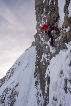 Ally on the first steep pitch