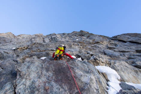 Ally on the first steep pitches