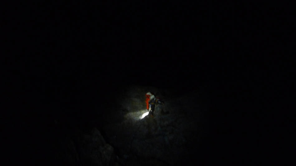 Myself negotiating the crux in the dark, © Ally Swinton