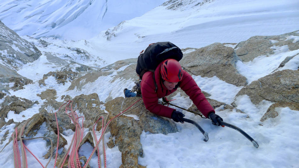 Arriving at the base of the crux, © Ally Swinton