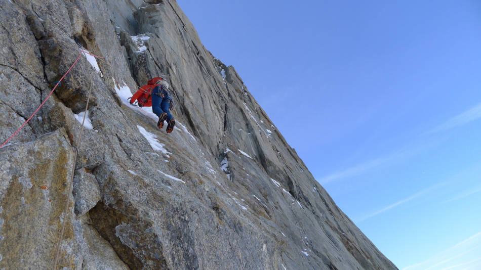 Teetering across the thin ice after the crux, © Ally Swinton