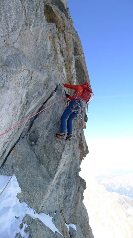 Hanging about on the second crux and refusing to commit to a rock-over, © Ally Swinton