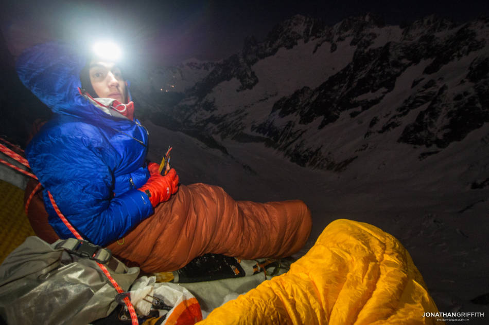 Ally and full moon at our first bivy on the face