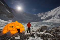 Full moon rises over Camp 2 beneath the Lhotse Face