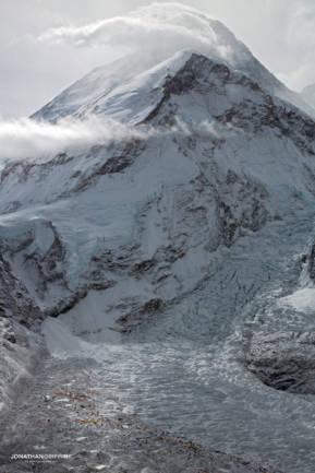 A moody Mt Everest and its huge Base Camp after a storm