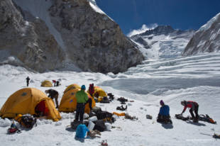 Camp 1 and the Lhotse Face in the background