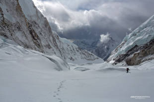 Ueli running for his life down the Western Cwm, unroped and on an untracked glacier