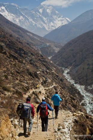 Walking in to Lhotse (far)