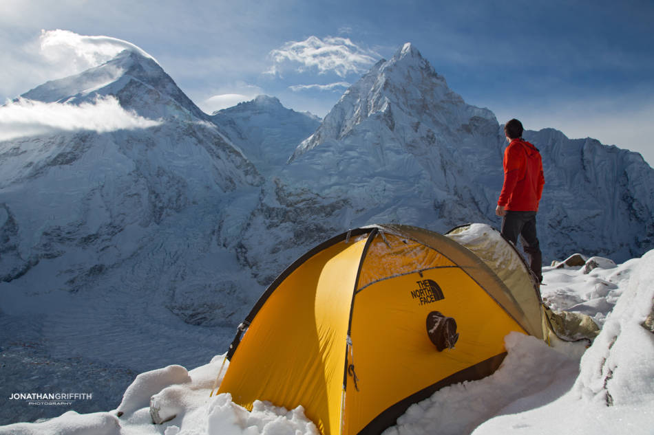 High up on Pumori looking over Everest, Lhotse and Nuptse