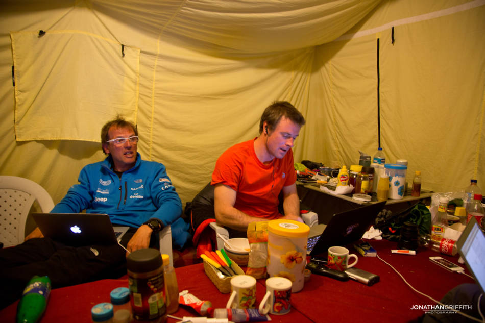 Exhausted- the media kept us very busy in Base Camp