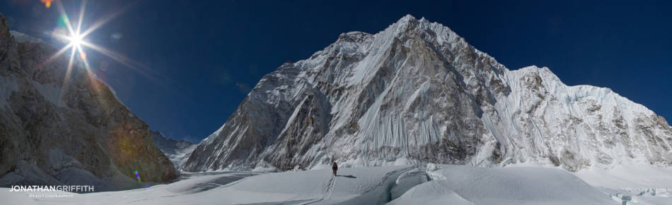 Arriving at Camp 1 after the Khumbu Icefall, Nuptse in front