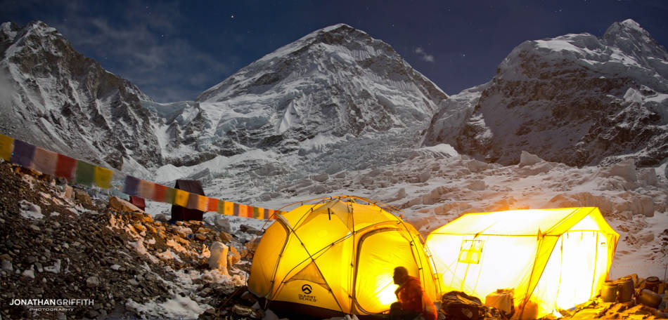 Everest Base Camp under a full moon