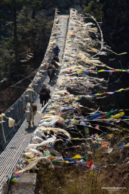 One of the many rope bridges on the way to Namche Bazar