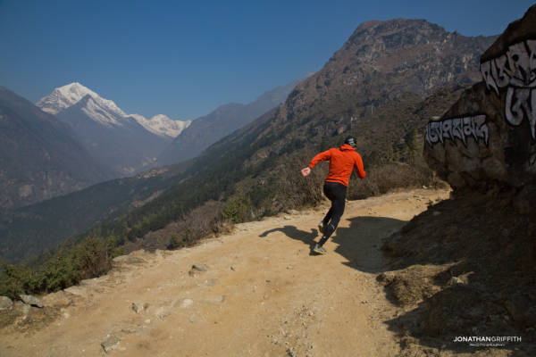 Ueli goes for a training run at Namche Bazar