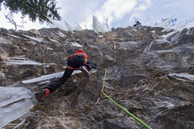 Korra doing what he does best at some dry tool crag in Montriond