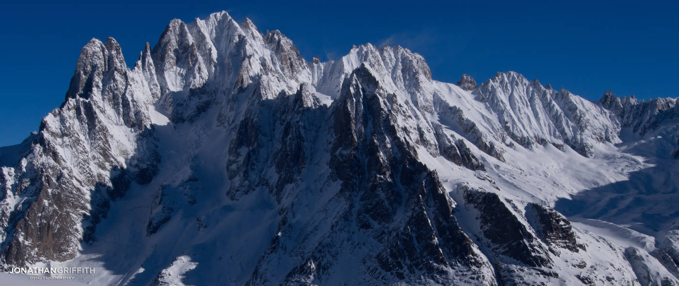 The Drus, Verte and Droites looking very cold and wintery