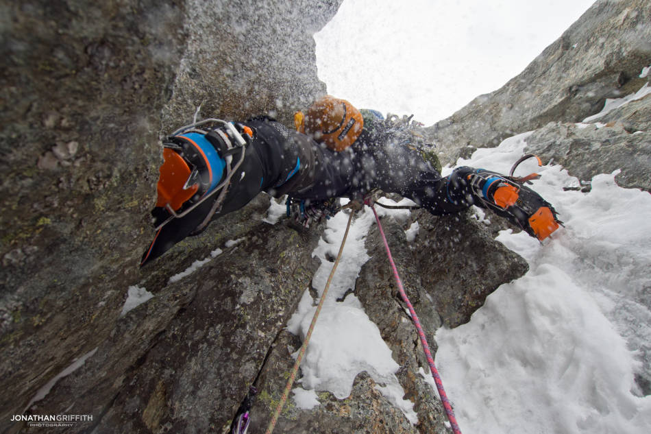 Steep start to the second crux pitch