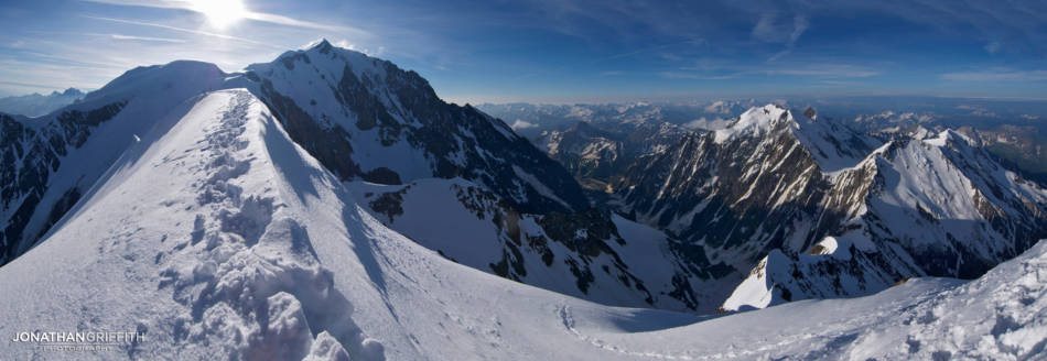 Pano from the summit of the Bionassay showing part of the route I came from on the right, and still to go to the summit of Mont Blanc on the left