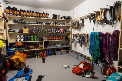 Ueli Steck's secret basement gear room