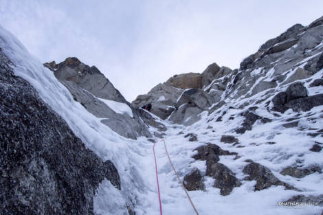 Penultimate pitch of the route