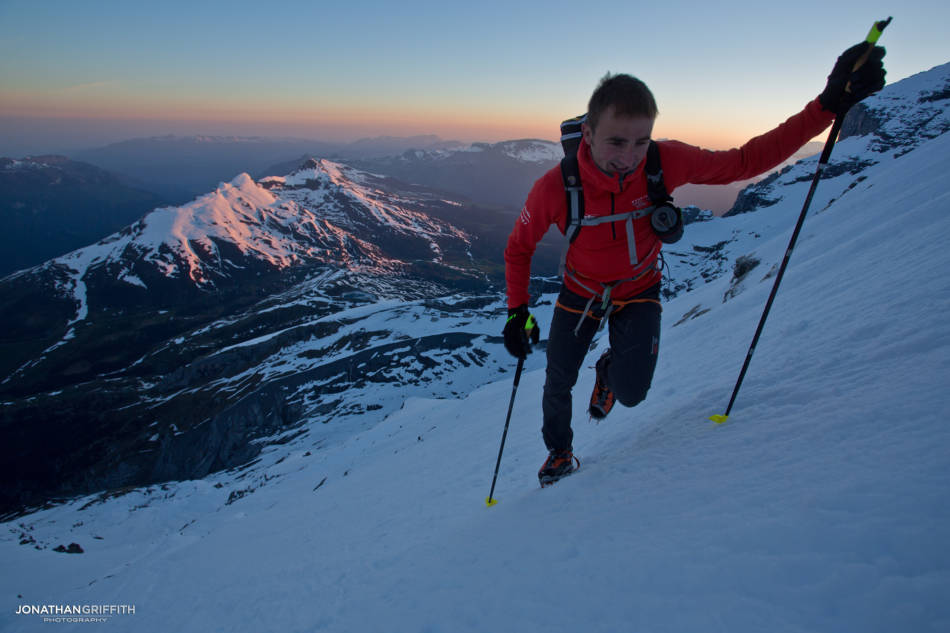 Ueli at daybreak already high up on the North Face