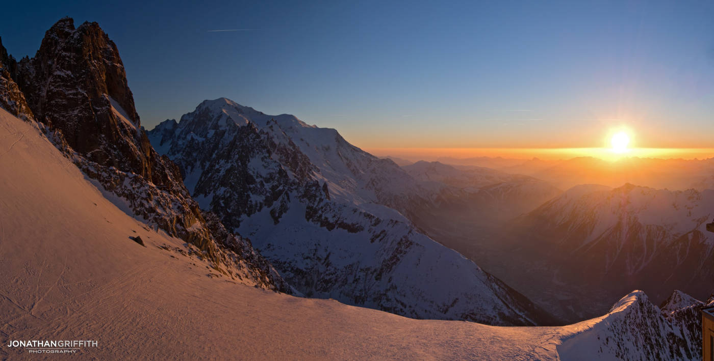 Sunset over the Mont Blanc and Dru from the Grand Montets