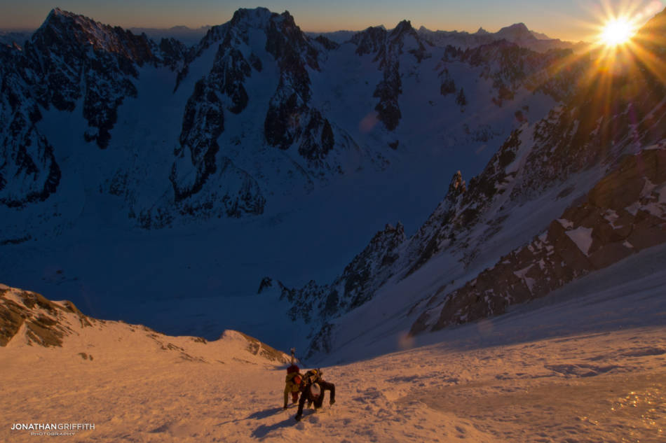 Two skiers on the Couturier at sunrise- had to keep stopping to take shots!