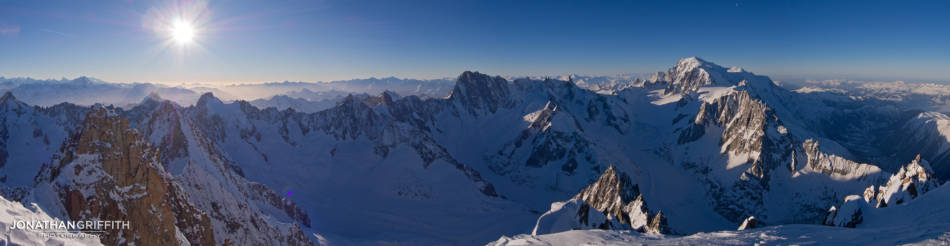 The view from the summit of the Aiguille Verte over the Jorasses and Mont Blanc