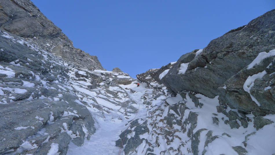 Myself on the short steep narrowing before it all kicks back for a while, © Ally Swinton