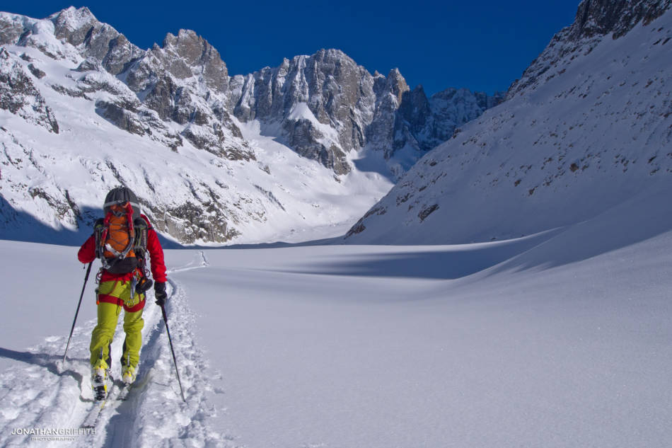 Ally tours in to the Leschaux Glacier, the Petites Jorasses in the background