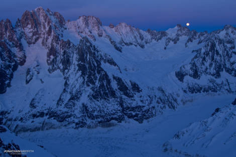 Dusk over the Verte, Courtes and Droites as the full moon rises