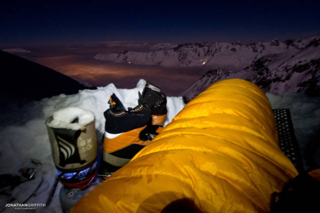 View from a very cold winter bivouac