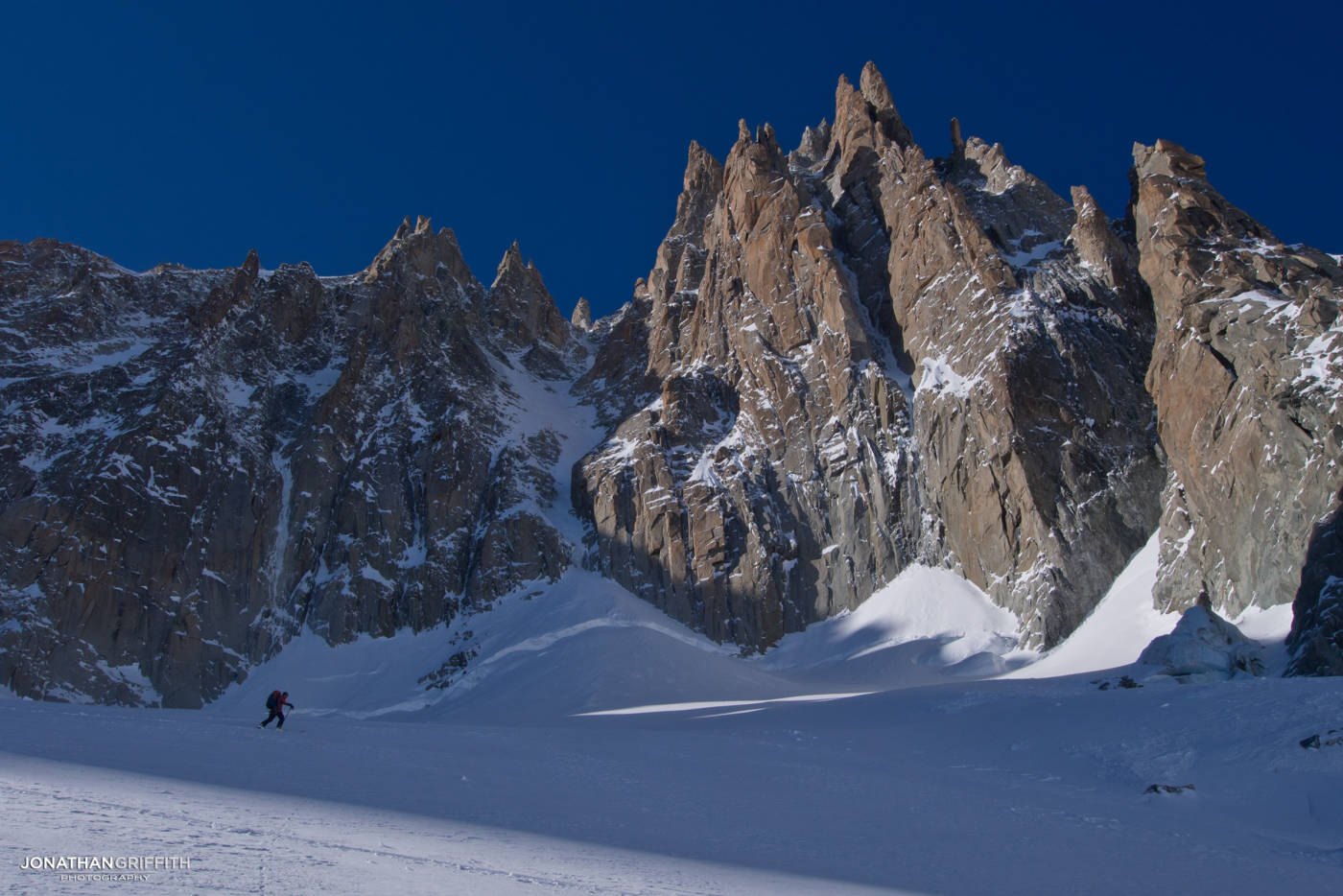 Touring in to the Supercouloir on Mont Blanc du Tacul