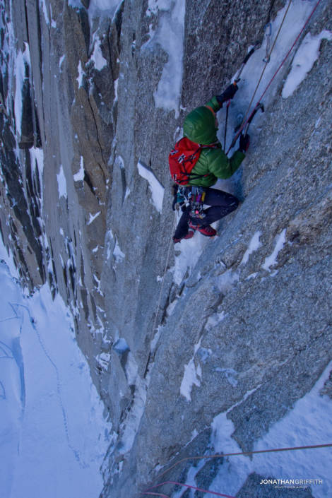 Adam seconding the First pitch on supercouloir Direct