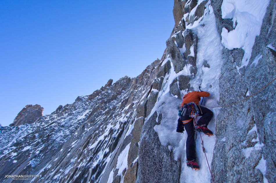 Adam on the last pitch of the Direct on Supercouloir Direct