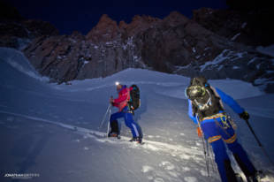 Steph and Max touring in to the Supercouloir