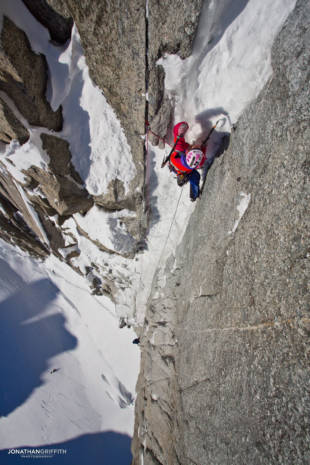 Steph negotiating the snow plug on the crux of the Supercouloir