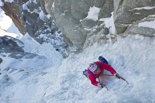 Steph on the last pitch on the Supercouloir