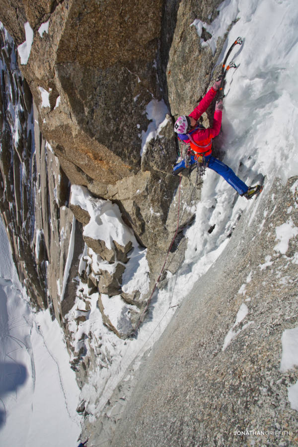Steph on the M6 crux of the Supercouloir Direct