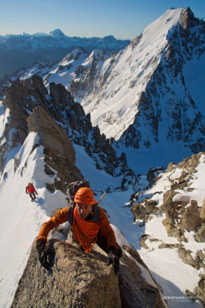 Jeff on the Forbes arete on the Aiguille Chardonnet
